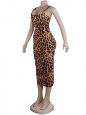 Sexy Deep U Neck Leopard Printed Sexy Dress