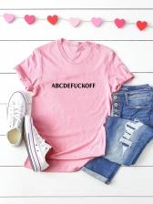 Casual Letter Print Short Sleeve Cotton Women T-shirts