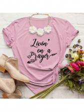 Crew Neck Letter Print Short Sleeve T-shirts For Women
