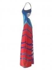 U Neck Contrast Color Sleeveless Maxi Dress