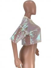 Night Club Sequins See Through t Shirt