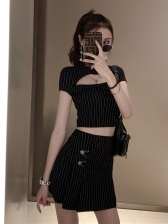 Sexy Hollow Out Striped T-shirt Two Piece Outfits