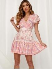 V Neck Tie-Wrap Ruffled Printing Short Sleeve Dress