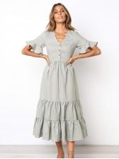 Solid Color Button Up Flounce Hem Maxi Dresses