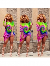 Hot Sale Tie Dye Short Sleeve Dress
