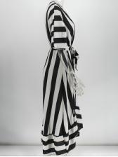 Contrast Color Tie-Wrap Striped Midi Dress