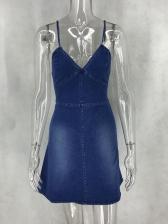 Fashion V Neck Strap Denim Dress
