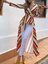 Tie-Wrap High Low Colorful Striped Long Blouse