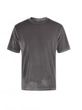 Solid Color Velvet Short Sleeve Mens Tee Shirt