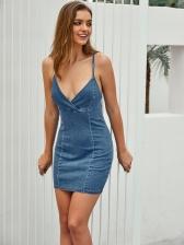 Chic V Neck Backless Strap Denim Dress