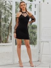 Cold Shoulder Lace Panel Black Long Sleeve Dress