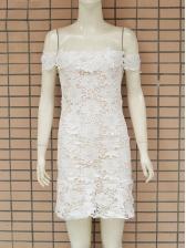 Off Shoulder Ruffle Hem Lace White Bandage Dresses