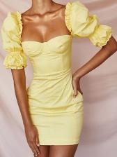 Fashion Stringy Selvedge Puff Sleeve Yellow Dress