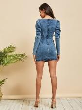 Chic V Neck Puff Long Sleeve Denim Dress