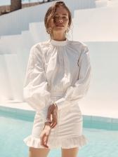 Fashion Lantern Sleeve Ruffled Hem White Dress
