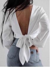V-Neck Binding Backless Cropped Wrap Blouse
