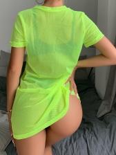 Bright Color Lightweight Gauze Short Sleeve Dress