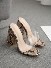 Euro Snake Print Chunky Slip On Heels Women Slippers