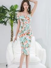 Off Shoulder Floral Knee Length Dress