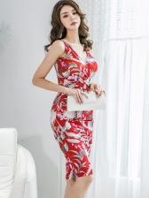 Elegant V Neck Floral Sleeveless Bodycon Dress