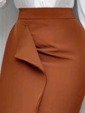 Solid High Waisted Ladies Midi Pencil Skirt