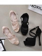 Solid Color Platform Peep Toe Stiletto High Heels