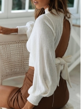 Stand Collar Solid Tie Back Long Sleeve Sweater