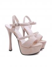 Sexy Solid Color Suede Ankle Strap Platform High Heels