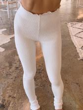 Casual Stringy Selvedge High Waist Leggings