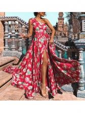 Bohemian Inclined Shoulder High Split Vacation Dresses