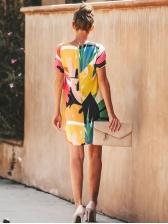 Crew Neck Contrast Color Printed Short Sleeve Dress
