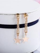 Pentagram Design Long Chain Gold Earrings