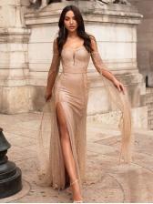 Sexy Off Shoulder High Split Long Sleeve Evening Dress