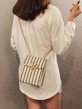 Rectangle Design Metal Hasp Women Chain Bag