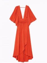 Bohemian Deep V Neck Short Sleeve Maxi Dress