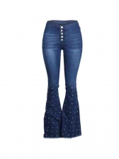 High Waist Studded Decor Stretch Bootcut Jeans