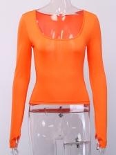 Sexy U Neck Long Sleeve Skinny T-shirts For Women