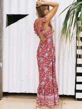 Vacation Printing Backless Ruffles Maxi Dresses