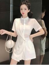 Summer Patchwork Slim Short Sleeve Rompers For Women