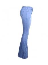 High Waist Ripped Bootcut Jeans For Women
