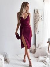 V Neck Solid Color Split Spaghetti Strap Dress