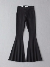 Vintage Boot Cut Solid Blue Flare Jeans(3-4 Days Delivery)