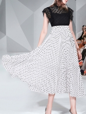 Contrast Color Lace Patchwork Polka Dot Dresses