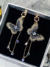 Stylish Butterfly Zircon Tassel Women Earrings