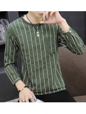 Casual Pinstripes Long Sleeve Tee Shirt For Men