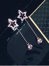 Hollow Out Star Rhinestone Tassel Female Earrings