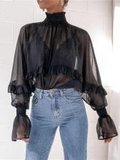 Sexy High Neck Long Sleeve Chiffon Women Blouses