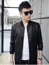 Solid Leisure Stand Collar Jackets For Men