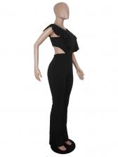 Ruffled Detail Backless Black Jumpsuit