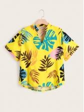 Casual Leaf Print Short Sleeve Plus Size Blouse